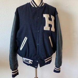 Made in USA, vintage Wool&Leather varsity jacket L